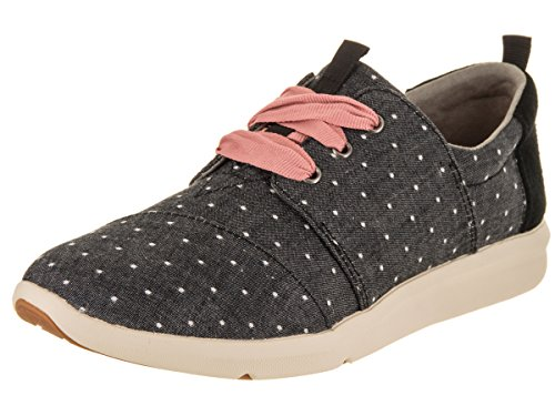 TOMS Womens Del Rey Polka Dot Lace Up Sneakers Shoes Casual - Black - Size 6.5 B