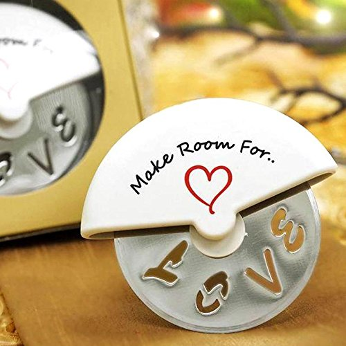 Tableclothsfactory Make Room for Love Pizza Cutter in Cute Favor Box- Lot of 25