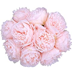 Quantity: Each package has 2 bouquets. Each bouquet has 5 silk peony flowers. The vase is NOT included! Size: Each artificial bouquet is approximately 11.81in / 30cm long, flower head diameter is approximately 3.94in / 10cm. Due to manual measurement...
