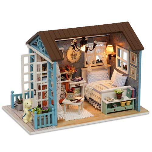 PUSOKEI Kit De Muebles En Miniatura De Cabaña De Madera DIY, Kit De Casa De Muñecas De Madera De Juguete para Niños, Regalos, Decoración del Hogar