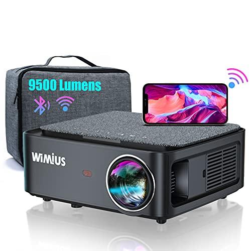 WiMiUS プロジェクター 9500lm WiFi 5G Bluetooth5.0機能搭載 1920×1080ネガティブ解像度 4k対応 4ポイントデータ台形補正 50%ズーム ホーム ビジネス プロジェクター 300インチ大画面 USB/HDMI/AV/3.5mmオーディオ端子対応 スマホ/パソコン/タブレット/ゲーム機/DVDプレーヤーなど接続可能