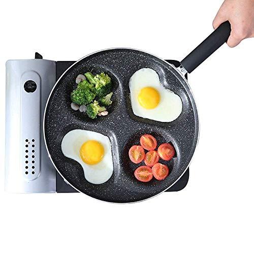 IUYJVR Sartén para Huevos de 4 Tazas, sartén de Aluminio Fundido con un Mango con diseño de 4 moldes, máquina para Hacer panqueques Antiadherente de dólar Plateado con Revestimiento de cerámica, pa