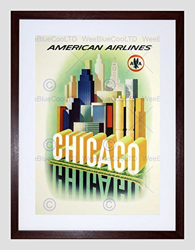 TRAVEL AMERICAN AIRLINES CHICAGO WINDY CITY VINTAGE ADVERT ART PRINT B12X1425