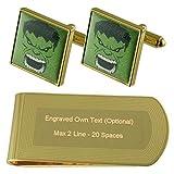 Hulk verde tono Oro gemelos Money Clip grabado Set de regalo