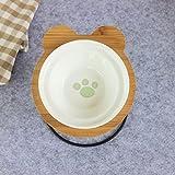 XXIXXV Tazón de agua para perro, cuenco de bambú, bandeja de alimentación y bebedero de cerámica para perros y gatos alimentador de mascotas S gpaw
