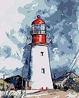 ナンバーキットによるDIY油絵ナンバーキットによる灯台ペイントカラフルなキャンバス絵画壁アート絵の描画-40Cmx 50Cm(木製フレームなし)