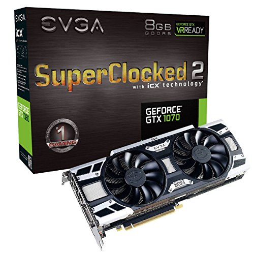 EVGA GeForce GTX 1070 SC2 Gaming, 8GB GDDR5, iCX Technologie - 9 Temperatur Sensoren & RGB LED G/P/M, Asynch Fan, Optimized Airflow Design Grafikkarte 08G-P4-6573-KR