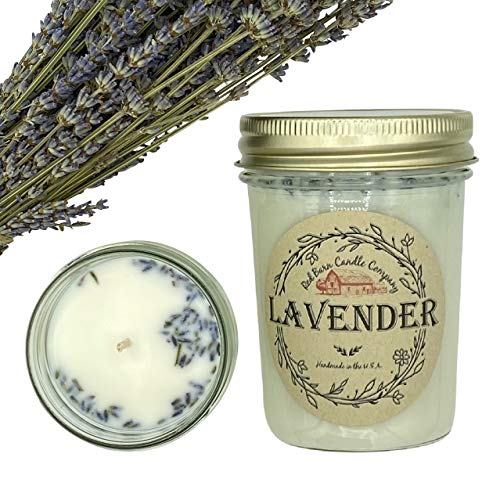 Lavender Aromatherapy Candle (8 oz) | All-Natural Soy Wax & Dried Flowers | Essential Oil Infused | Odor Eliminating + Relaxing | Handmade in The U.S.A. | Toxin Free