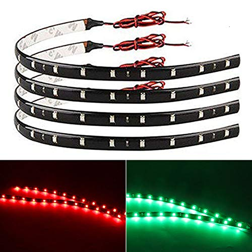 EverBright 4-Pack Led Strip Lights for Cars 30CM 5050 12-SMD Waterproof Car Underglow Lights Motorcycles Golf Cart Decoration Led Interior Exterior Lights Strip with 3M Tape ( Red2+Green2), DC-12V