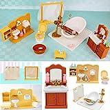 LaDicha DIY Miniatures Chambre Salle De Bain Meubles Ensembles pour Sylvanian Famille Dollhouse Accessoires Jouets Cadeau