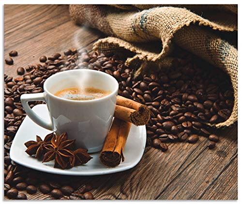 Artland Spritzschutz Küche aus Alu für Herd Spüle 60x50 cm Küchenrückwand mit Motiv Getränke Kaffee Coffee Cafe Bistro Kaffeebohnen Dunkel S6BQ