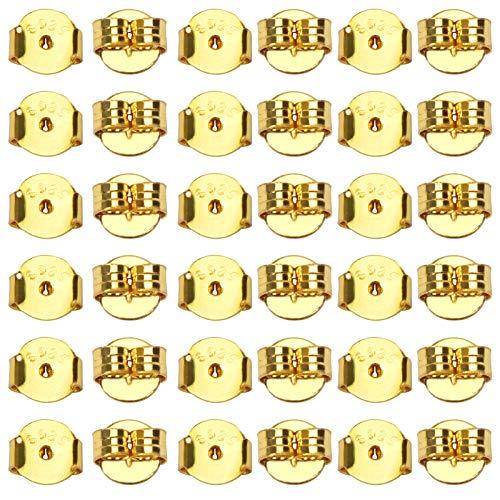 TOAOB 10 Paar Golden 925 Sterling Silber Ohrring Stopper Ohrstecker Schmetterling Verschluss Ohrstopper Runde Form Universal Größe 5 x 5.5 mm Loch 0.7mm für Schmuckherstellung