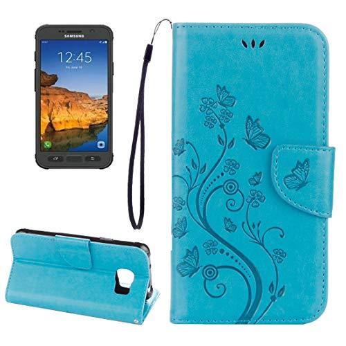 Wdckxy HNZZ - Funda de piel para Galaxy S7, diseño de flores prensadas activas, con función atril, ranuras para tarjetas, cartera y cordón, color azul
