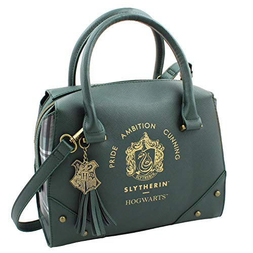 Harry Potter Purses and Handbags for Women: These Stylish totes feature 2 compartments and 1 zipper pocket inside with 100% polyester fabric lined material. 100% PU outer shell with plaid sides. Perfect utility tote purse to hold your wallet, keys ,c...