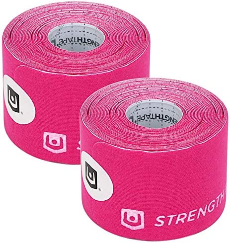 StrengthTape Kinesiology Tape 2 inch x 16 4 Foot Pre Cut Strips 2 Pack Pink product image
