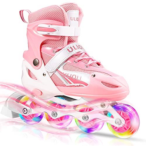 Inline Skates Kinder mit Leuchtenden Rädern, ULIOLI Inliner Einstellbarer Größe Unisex für Mädchen und Jungen, Spaßsport im Freien Rollerblades für Anfänger