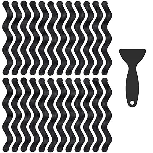 ISIYINER Adesivi Antiscivolo 24 Pezzi Adesivi Anti Scivolo Tappetino Strisce Antiscivolo con Raschietto per Doccia e Vasca da Bagno 18 x 1,3 cm Nero