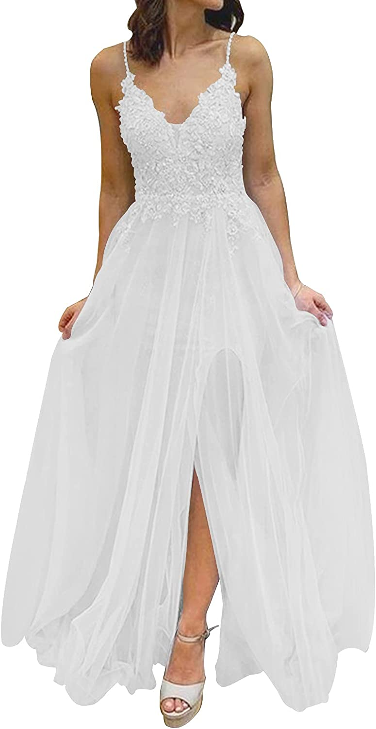 Wedding Dress Lace Bride Dresses Tulle Bridal Gowns V Neck Wedding Gown with Split