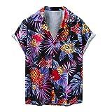 Topkal Camisa hawaiana de manga corta para hombre, para playa, tiempo libre, con botones gris L