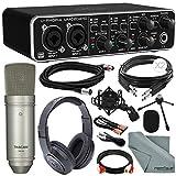 Behringer U-PHORIA UMC204HD USB 2.0 Audio/MIDI Interface and Platinum Bundle w/Pro Condenser Mic + Headphones + Cables + Fibertique