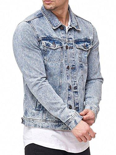Indicode Herren Bryne Jeansjacke aus 98% Baumwolle | Moderne Jeans Jacke Herrenjacke Markenjacke Destroyed Washed Out Mens Denim Jacket Übergangsjacke Freizeitjacke für Männer Denim Blue S
