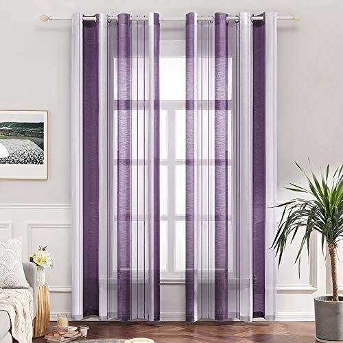 MIULEE Voile Vorhang Transparente Gardine aus Voile mit Ösen Schlaufenschal Ösenschals Transparent Fensterschal Wohnzimmer Schlafzimmer 2er Set 140x215 cm Stripe Lila