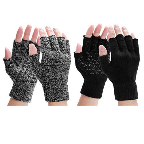 Fingerlose Handschuhe - Winter Warme Handschuhe Fäustlinge Rutschfeste Gestrickte thermo Handschuhe Sport Handschuhe mit Anti-Rutsch-Klebe Als Geschenk - Einheitsgröße (2 Paar), Set1