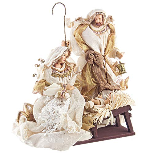 BIZZOTTO Natività Monoblocco H 38 Cm Statue Per Presepe Vestiti In Tessuto Champagne