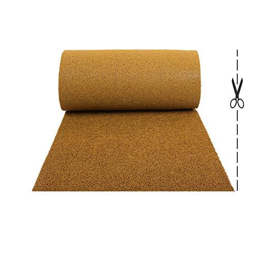 Olivo.Shop – Twist Beige, alfombra antideslizante de rizo de vinilo para entrada exterior, felpudo a medida de vinilo, atrapa la suciedad y lavable para interior (100 x 050 cm)