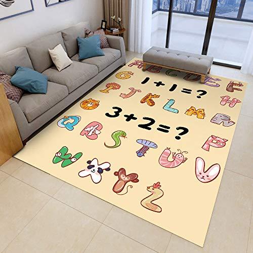 Teppich Kinderzimmer Mädchen Junge Rund Blau Spielmatte Baby Schadstofffrei Kinderteppich (D61, 120x160cm,47.2'x62.9')
