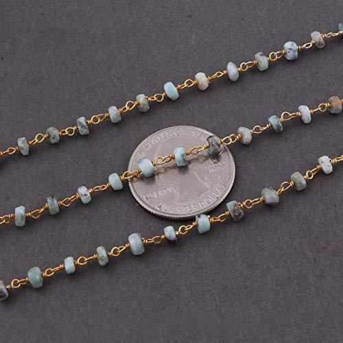 LKBEADS cadena de cuentas estilo rosario de 1 pie Larimar de 4 mm a 5 mm, cuentas de Stefilia envueltas en alambre de plata de ley 925
