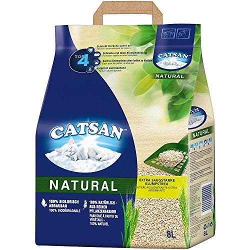 CATSAN Natural – Kompostierbare Klumpstreu für Katzen aus 100% Pflanzenfasern – 1 x 8 Liter