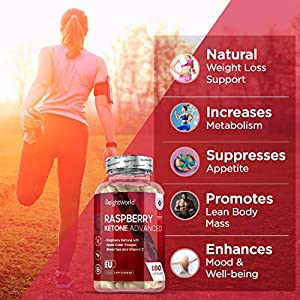 Raspberry Ketone Plus- 1000mg Max Strength Fast Fat Burner Tablets, Natural Slimming & Weight Management Diet. Vegan & Vegetarian Pure Fruit Supplement Capsules for Health & Nutrition- by WeightWorld