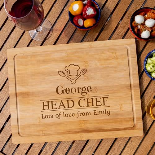 Personalised Chopping Board | Cheese Board | Cutting Board - Chefs Hat Head Chef Design
