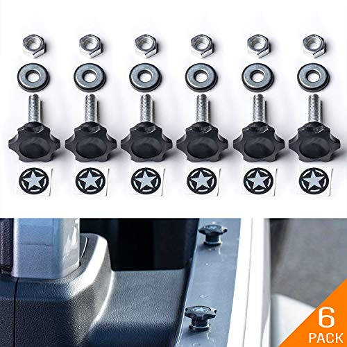 GP-Star Quick Release Thumbscrew Set for Jeep Wrangler. Upgraded 3M Star Badges. M8 1.25 25mm Screw/Bolts with Nuts and Rubber washers (6 Pack Thumbscrew)