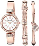Anne Klein Women's AK/3294RGST Swarovski Crystal Accented Rose Gold-Tone Bangle Watch and Bracelet Set