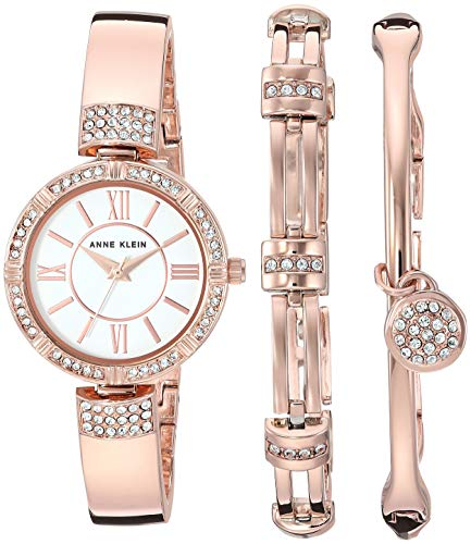 Price comparison product image Anne Klein Women's AK / 3294RGST Swarovski Crystal Accented Rose Gold-Tone Bangle Watch and Bracelet Set
