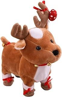Leegoal Reindeer Plush Toy, Electric Walking Cute Plush Reindeer Toys with Singing Walking Function, Christmas Reindeer Soft Toys for Birthday