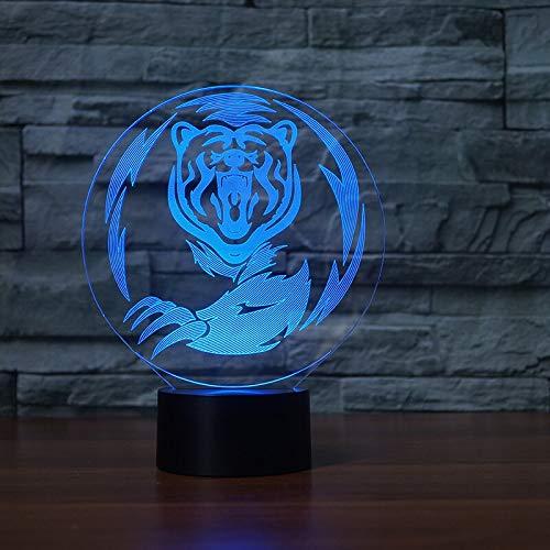 Tiger ilusión Visual luz acrílica Transparente luz Nocturna Hada Lanpa Mesa táctil de Color
