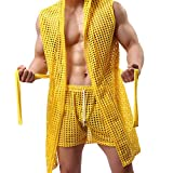 MORETIME lencería de hombres,2019 verano Albornoz de calado de malla de moda sexy de moda para hombre pantalones de pijama lencería hombre erótica cuero ropa Interior Erotica Hombre