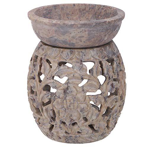 Guru-Shop Indische Duftlampe, ätherisches Öl Diffusor, Teelicht Halter für Aromatherapie, Aromalampe aus Speckstein - Rund Blumenranke 2, Beige, 10x7,5x7,5 cm, Duftlampen & Öllampen