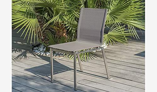 DCB GARDEN Torino Chaise de Jardin, Acier Inoxydable, Taupe, L 52 x l 60 x H 85 cm