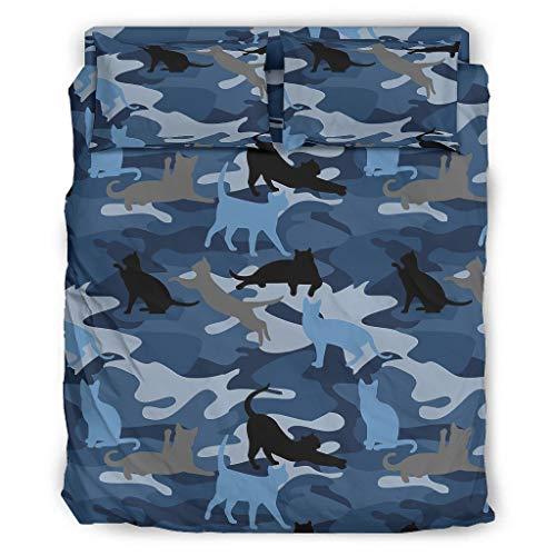WOSITON Colcha Edredón Camuflaje Gato Azul Suave Categorías Europeas Patrón Gris Color Cama Doble Blanco 240x264cm