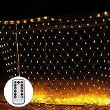 Shinoske LED Lichternetz Netz Lichterkette 3 x 2 m mit Fernbedienung 8 Modis Warmweiß für Weihnachten, Hochzeit, Party, Innen und Außen Warme...