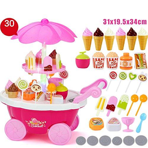 Jouets FEI Bébé Jeu de Rôle 30 PCS Glace & Bonbons Musical Cart Pretend Food Play Set Cadeau pour les Enfants (Jaune) Début Éducation (Couleur : Rose)