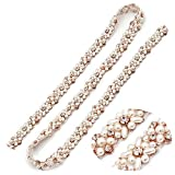 Rhinestone Applique, Bling Crystal Applique Bridal Gold Belt 1 Yard Wedding Accessories for Brides