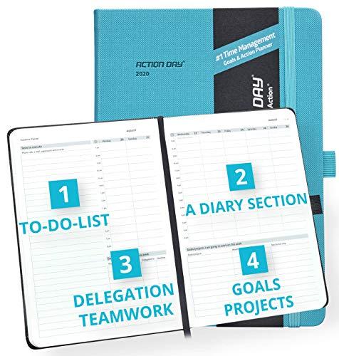 Action Day Planner 2020 - # 1 Time Management Design Dat maakt het gemakkelijk voor u om dingen gedaan, Dagelijks Wekelijks Maandelijks Jaarblad, Agenda, Gebonden, Zak, Pen Loop, Dik Papier (7x9,Turkoois)