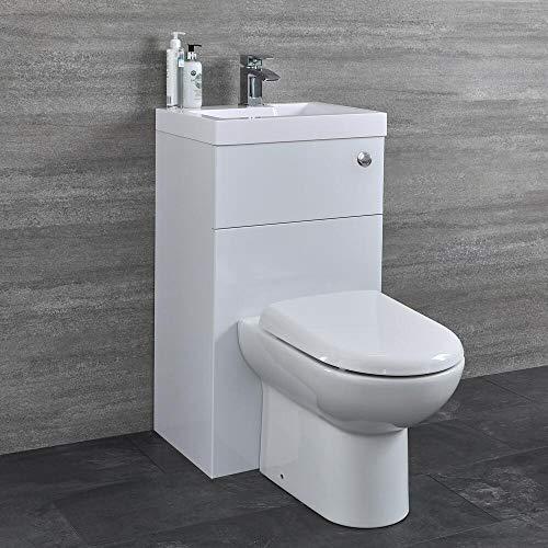 Hudson Reed WC-Kombination Splash 1 - Einteiliges WC mit Spülmechanismus im Wandschrank mit integriertem Aufsatzwaschbecken - Platzsparend und praktisch für Gäste WCs und kleine Badezimmer - Weiß