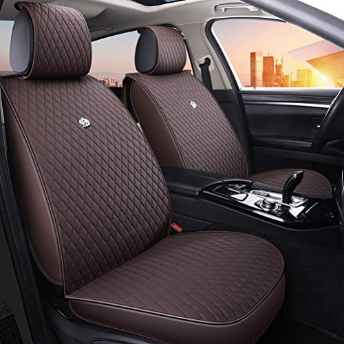 Luxury Brown Leather Car Seat Cover Universal Front and Rear Seat Cushions with Airbag Compatible 9PCS Seat Covers Set Fit Most Car Auto Suv (B-Brown) -  Haihong