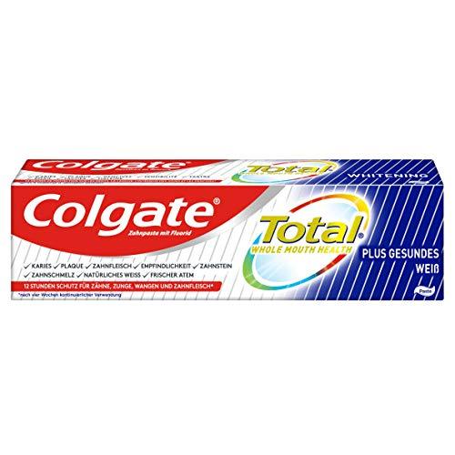 Colgate Zahnpasta Total Plus Gesundes Weiß 75ml - überlegener Schutz für Zähne, Zungen, Wangen & Zahnfleisch